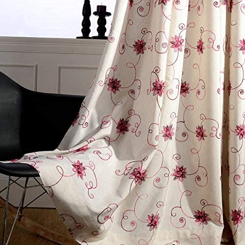 VOGOL Embroidery Curtains for Living Room, Pink Floral and Vines Embroidered Grommet Window Curtains for Large Windows Patio Door, 2 Panels, 60 x106