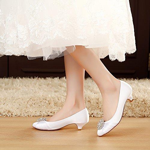 Luxveer Kitten Talon Satin Chaussures De Mariage Sexy Femmes Chaussures Avec Strass Talon Bas 1.5 Pouce Rs-2067 Blanc
