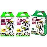Fujifilm Instax Mini Instant Film, 5 Pack BUNDLE Includes Qty 2 Instax Mini Twin 10 Sheets x 2 packs = 40 Sheets + Instax Min