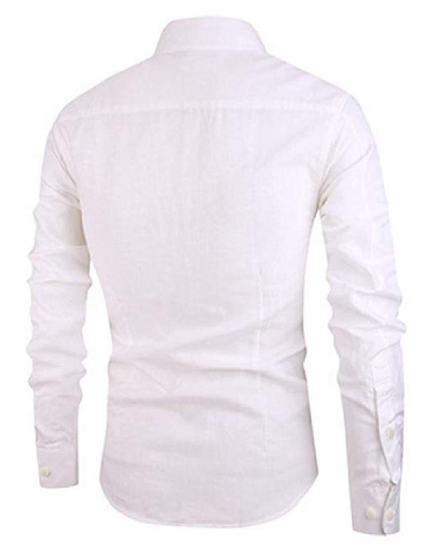 YUNY Mens Fashion Linen Cardi Long Sleeve Square Collor Solid Shirt White S