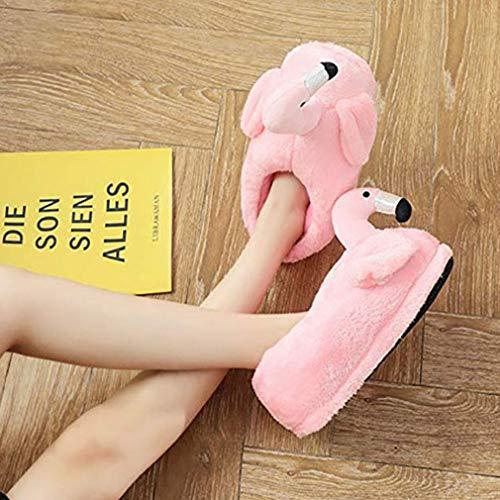 Femmes Flamant Nouveauté Duveteux Smiley Peluche Chaussons Face Hongxin Rose Emoji B Adultes Pantoufles Hiver RwFqER4d