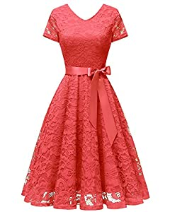 Bridesmay Women V Neck Floral Lace Cocktail Party Bridesmaid Dress with Sleeves