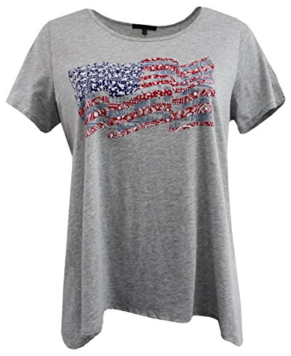 (Women Plus-Size Short Sleeve American Flag Tee T Shirt Top Knit Blouse Gray 3X G170.20L-5)