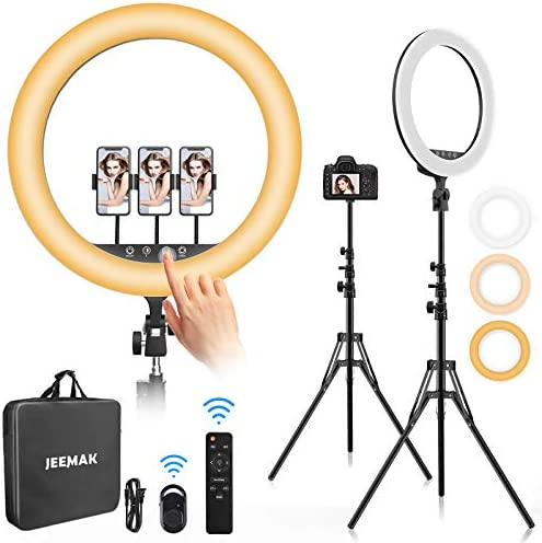 "Ring Light with Stand, Jeemak 18"" Ring Light with Tripod Stand & Phone Holder, Dimmable LED Ring Light for Touch Control Screen Selfie Light Ring for Live Stream/Makeup/TikTok/YouTube/Photography"