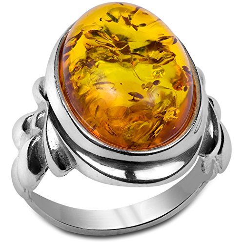 Honey Amber and Sterling Silver Classic Ring Sizes 5,6,7,8,9,10,11,12 (Ring Sterling Silver Cluster Five)