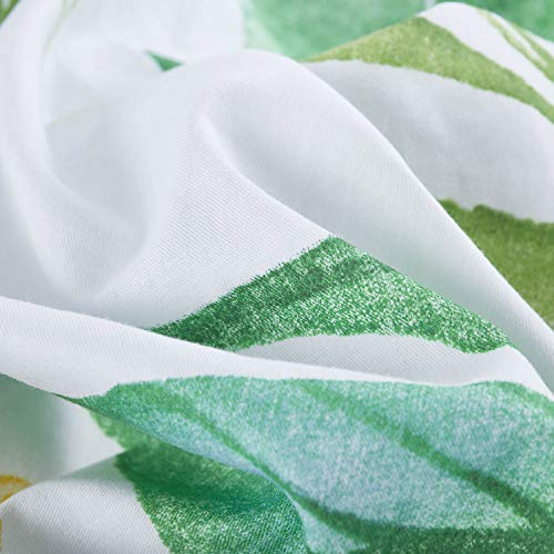 b9004d018 Wake In Cloud - Floral Comforter Set, 100% Cotton Fabric with Soft  Microfiber Fill Bedding, Botanical Flowers and Green Tree Leaves Pattern  Printed on White ...