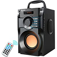Portable Bluetooth Speaker 10W Subwoofer Heavy Bass Wireless Outdoor Speaker MP3 Player Line in Speakers Support Remote Control FM Radio TF Card LCD Display for Home Party Phone Computer PC
