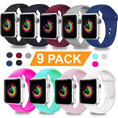 - DOBSTFY Compatible for iWatch Bands 38mm 42mm,Soft Silicone Sport Band Replacement Wristband Compatible for iWatch Series 1/2/3/4, Ni ke+, Sport, Edition, 38mm S/M, 9PACK