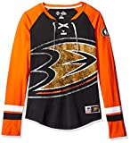 NHL Anaheim Ducks Women's Hip Check Long Sleeve Lace-Up Tee, Large, Black/Orange/White