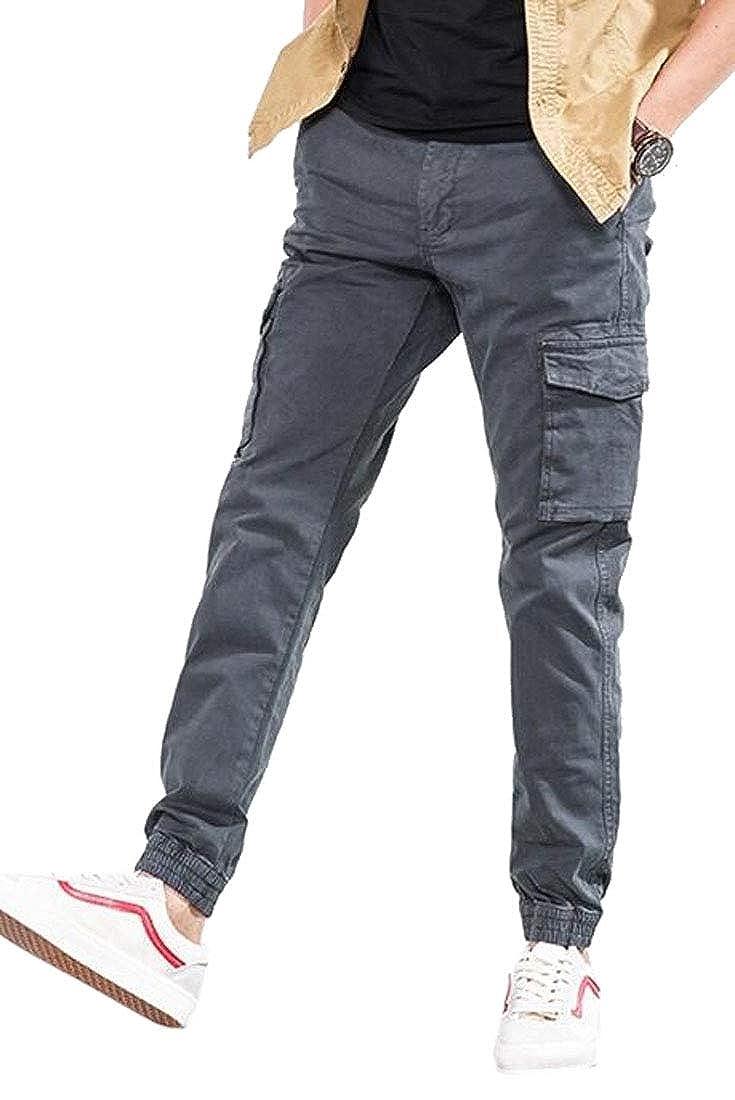 Jotebriyo Men Multi-Pockets Casual Straight Leg Ripstop Cargo Jogger Pants Trousers