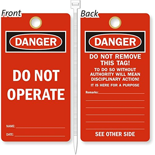 Do Not Operate, Heavy Duty 15 mil thick Vinyl Tag, 25 Tags / Pack, 3.25'' x 6'' by LockoutTag