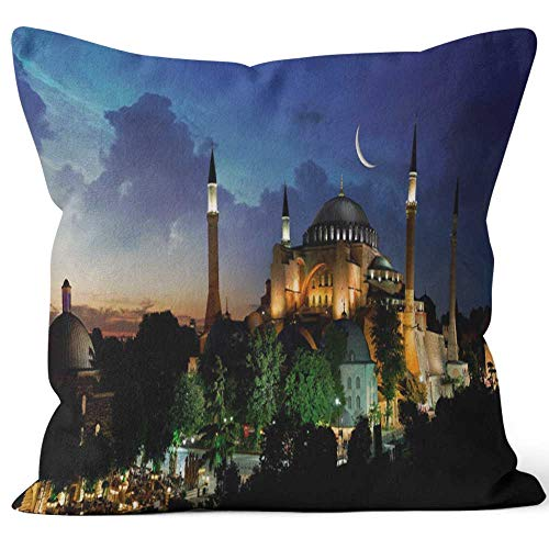 (View of Hagia Sophia Burlap Pillow Home Decor Throw Pillow Cover,HD Printing Cotton Linen Cushion for Couch Sofa Bedroom Livingroom Kitchen Car)