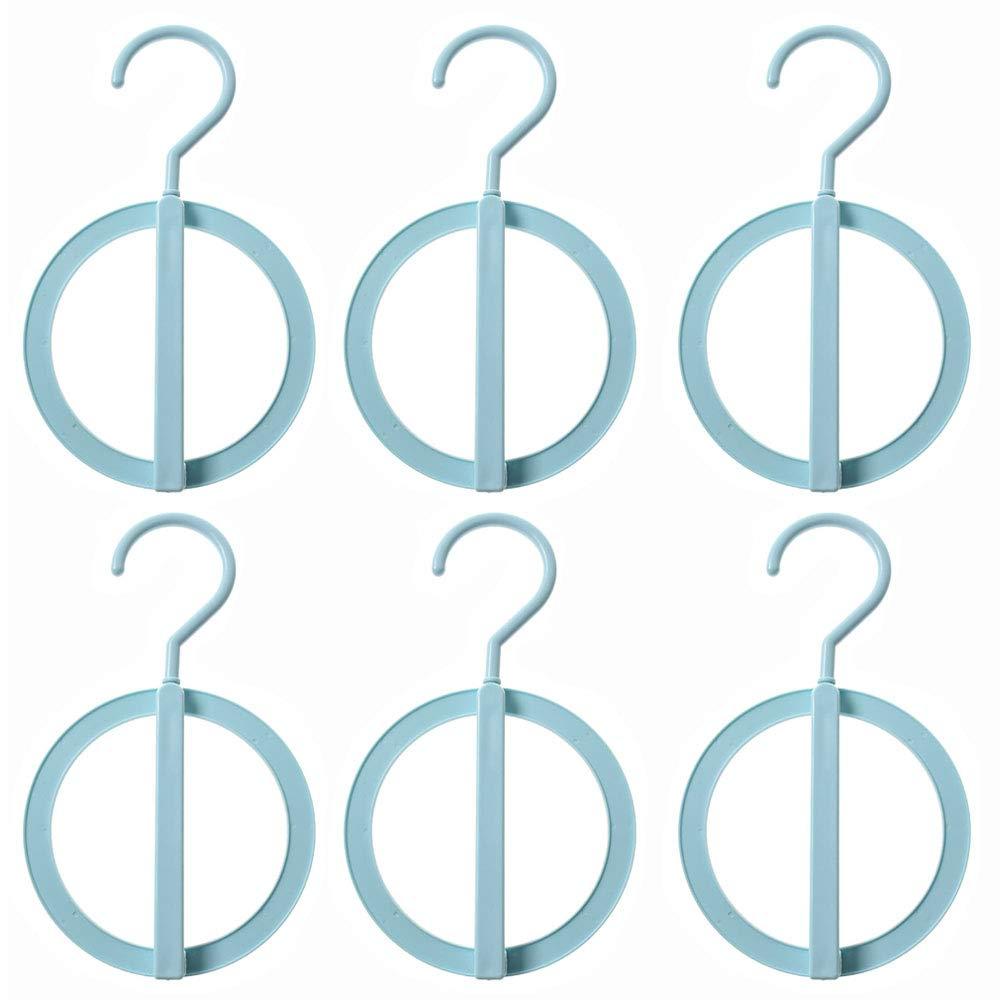 EORTA 吊り下げリングフック プラスチッククローゼットオーガナイザー ハンガー ポータブルストレージラック コート/スカーフ/ネクタイ/帽子/寝室/バスルーム/リビングルーム ホワイト ピンク ブルー 6個 ブルー 5QKD9I6LKADW80 B07L83NQ7P ブルー