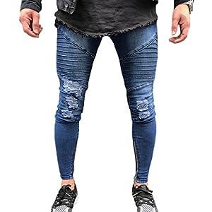 XARAZA Men's Ripped Skinny Jeans Slim Fit Denim Pencil Pants