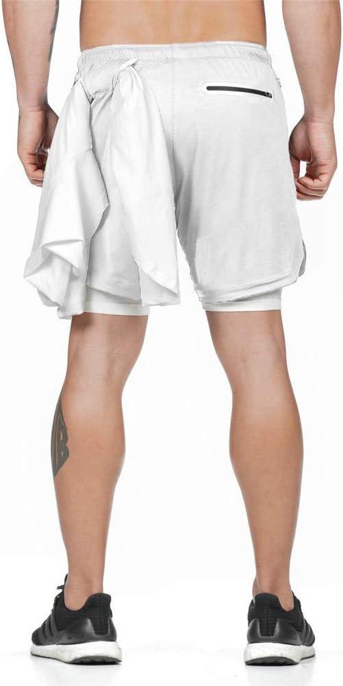 Schnell Trocknend Sommer Laufshorts mit Tasche Tunnelzug Fitness Joggen Kurze Sporthose Trainingsshorts f/ür Workout Odot Shorts Herren 2 in 1 Sports Kurz Hose