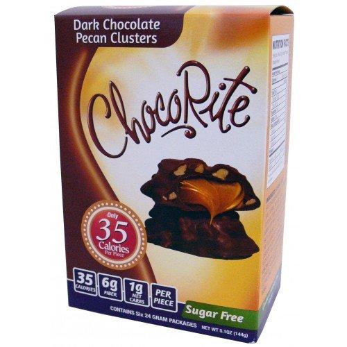 (CHOCORITE CHOCOLATE VALUE PACK -6 24 GRAM BARS-SUGAR FREE-35 CALORIES PER PIECE (DARK CHOCOLATE PECAN CLUSTERS))
