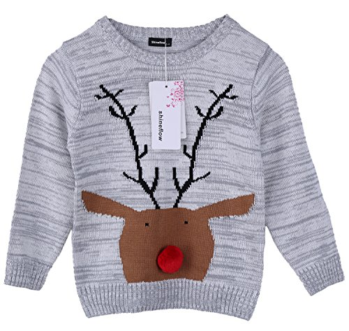 Shineflow Unisex Children Rudolph Reindeer Snowman Ugly Christmas Sweater Holiday Pullover Jumper (7Y, (New Girls Christmas Holiday Snowman)