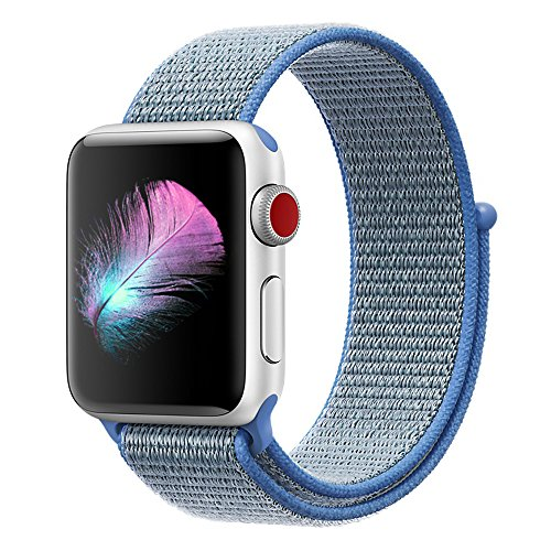 Yunsea Compatible for Apple Watch Band 42mm, New Nylon Sport Loop, with Hook and Loop Fastener, Adjustable Closure Wrist Strap, Replacement Band Compatible for iwatch, (42mm, Tahoe Blue)