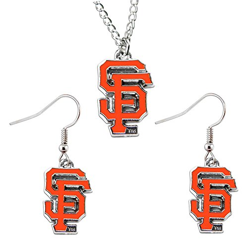 (SAN Francisco Giants Necklace and Dangle Earring Charm Set NFL)