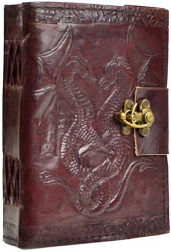Double Dragon Leather Journal Diary with Latch by AzureGreen by AzureGreen