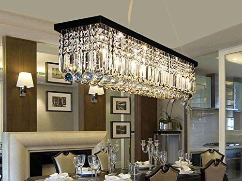 Moooni Modern Rectangular K9 Crystal Chandelier Lighting Dining Room Pendant Lighting, Painted Black Finish L39.5