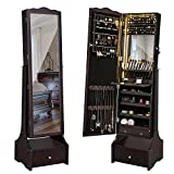 SONGMICS LED Jewelry Cabinet Lockable Jewelry Armoire Organizer with Mirror, Makeup Tray and Large Drawer Base Brown UJJC87BR