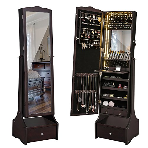 SONGMICS LED Jewelry Cabinet Lockable Jewelry Armoire with Full Length Mirror, Makeup Tray and Large Drawer Base Brown UJJC87BR--