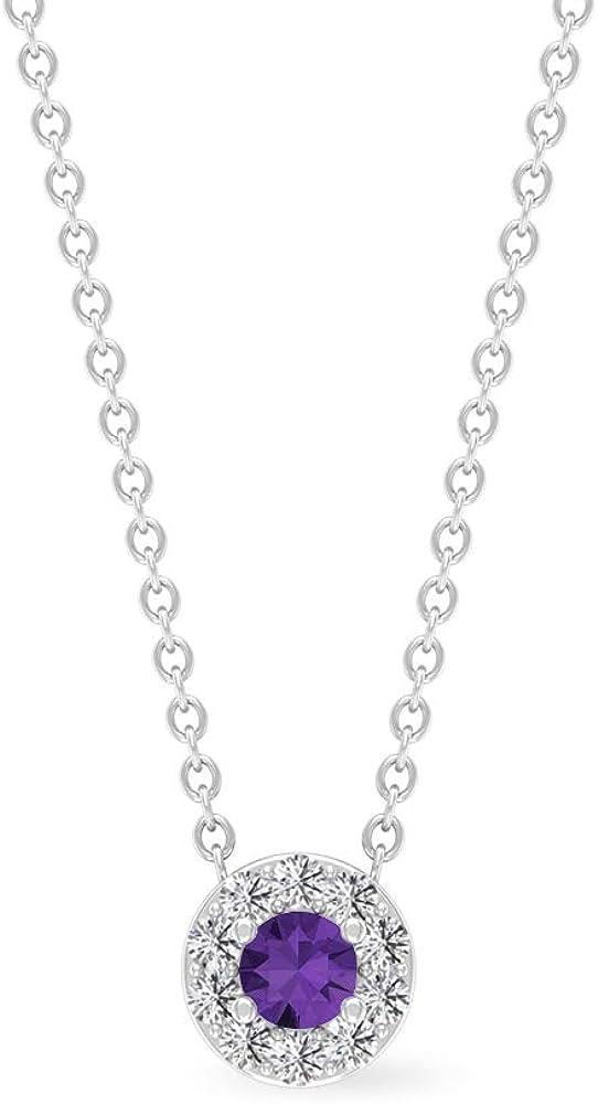 Collar de lavanda creado en laboratorio de 1/4 quilates, collar de halo de diamantes para mujer, collar de piedra solitaria, colgante de promesa, collar minimalista de oro
