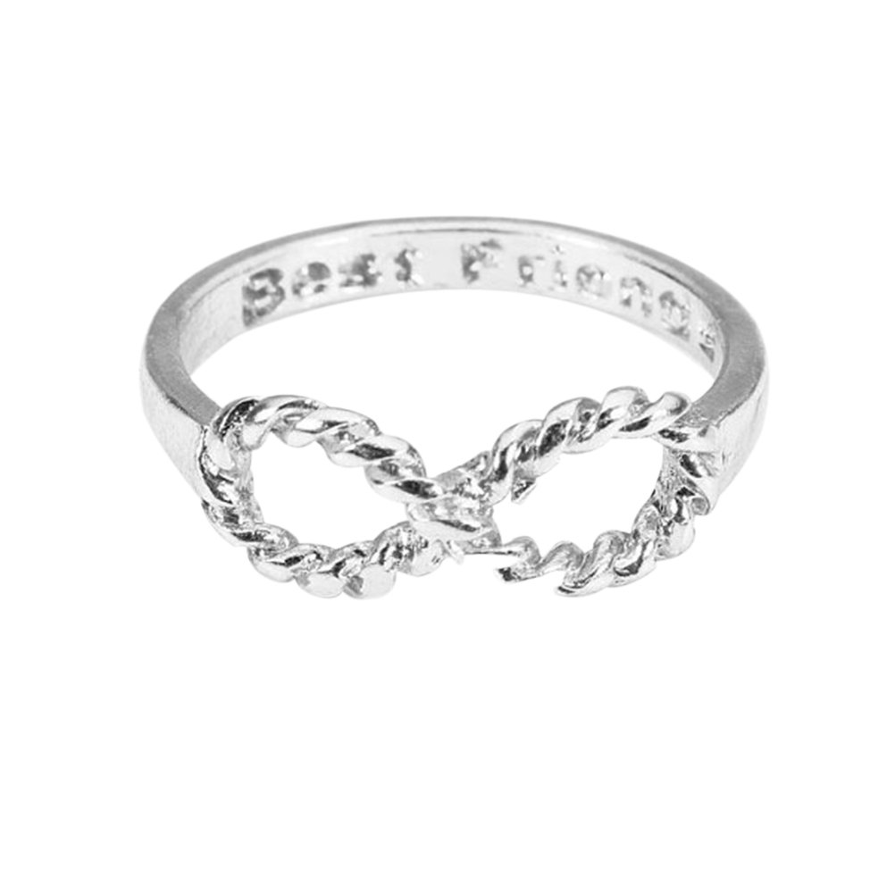 Tinksky Lovers Bowknot Infinity Best Friends Inscribed Finger Ring (Silver)