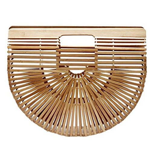 Fashion Women Bag, Jhuivd Fashion Women's Bamboo Handbag Lady Handmade Large Tote Bags (Beige)