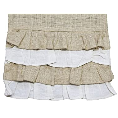 Multi Ruffle 54  Burlap Country Table Runner