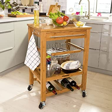 SoBuy FKW07-N, Bamboo Kitchen Trolley Cart with Shelves Drawer Basket, Kitchen Serving Storage Trolley