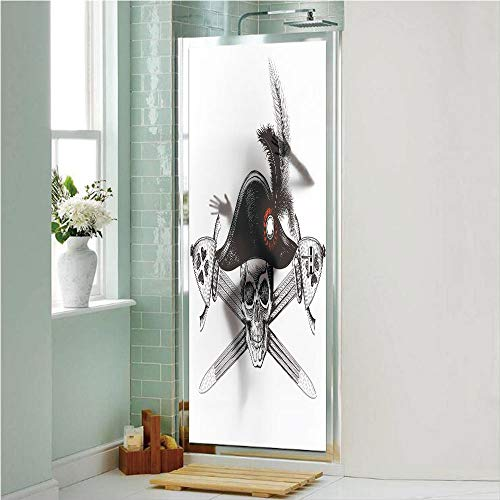 - Pirate 3D No Glue Static Decorative Privacy Window Films, Sketchy Skull with Captains Hat and Two Crossed Swords Feathers Danger Death Decorative,17.7