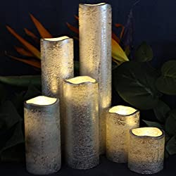 Silver Flameless Timer LED Candles Slim Set of 6,
