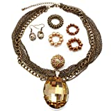 Trendy Multi Strand Chunky Brown Glass Pearl Swarowski Crystals Designer Inspired Bib Statement Necklace