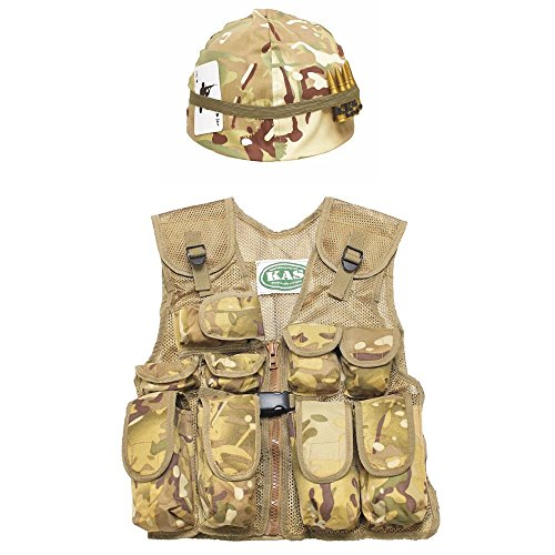 Thing I And Thing 2 Costumes (Kids Multi Cam Combat Vest & Camo Helmet, With Free Dog Tags, Age 5-12)