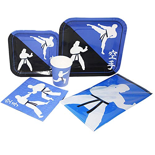 - Blue Orchards Karate Deluxe Party Packs (70 Pieces for 16 Guests!), Karate Birthday Supplies, Tableware Sets, Martial Arts Party