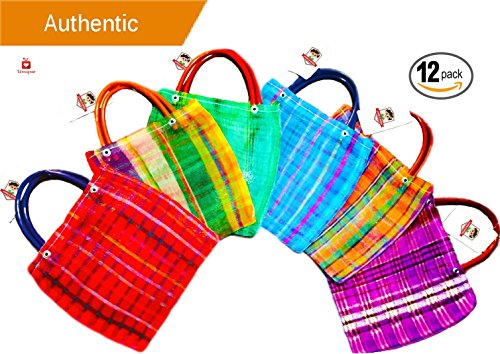 Alondra's Imports️ New (TM) Uniquely Designed, Mini Mexican Tote Favor Bags (Mexican Candy Bags - Mexican Mercado Bags - Mexican Mesh Bags - Bolsas Para Fiestas) 10 x 7 - Multi-Colored (12 Pack) by Alondra's Imports
