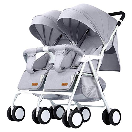 Double Stroller Convenience Urban Twin Carriage Stroller Tandem Collapsible Stroller All Terrain Double Pushchair for Toddler Girls and Boys Stable Stroller Frame with Bag Organizer (Color : 2)