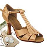 Women's Ballroom Dance Shoes Tango Wedding Salsa Dance Shoes Tan Satin S2806EB Comfortable - Very Fine 3'' Heel 8.5 M US [Bundle of 5]