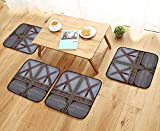 Leighhome Anti-Skid Chair Cushions Zinc Wooden Gate Image Street Construction Window Covered with Metallic Plank Brown Grey Health is Convenient W19.5 x L19.5/4PCS Set