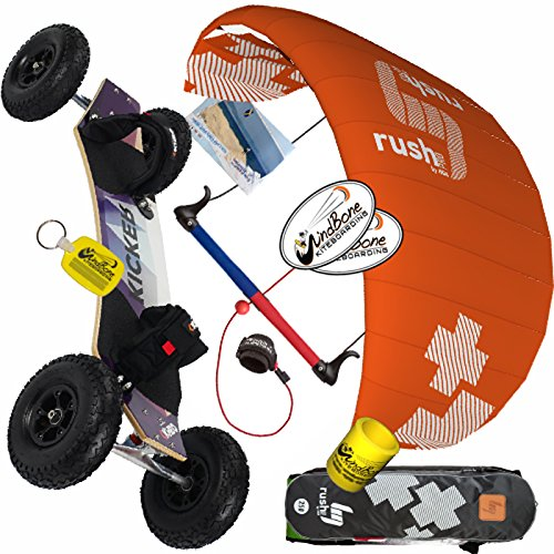 Kite Land Board - HQ4 Rush Pro V 350 3.5M Kite & Kheo Land Board Mountainboard Kiteboarding Bundle : (5 Items) Includes All Terrain Landboard + WindBone Decals + Key Chain + Koozie : Kite and ATB Mountainboard Package