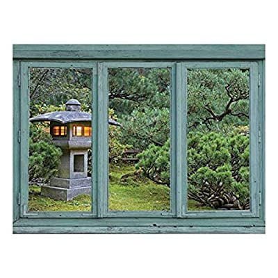 Crafted to Perfection, Alluring Technique, Vintage Teal Window Looking Out Into a Japanese Garden with a Lamp Post Wall Mural