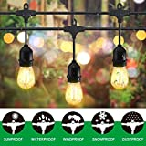 Classyke 48ft LED Outdoor String Lights for Patio Garden Yard Deck Cafe Dimmable Weatherproof Commercial Grade [UL Listed]