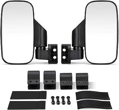 KEMIMOTO UTV Side Mirrors for 1.6-2 Roll Bar 3 Adjustment Methods UTV Mirrors with Convex Mirror Compatible with Polaris RZR Honda Pioneer Can Am Maverick X3 Kawasaki Teryx- 1 Pair