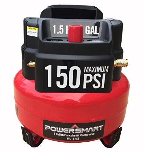 PowerSmart 6 gallon Oil Free Electric Air Compressor, Red/Black