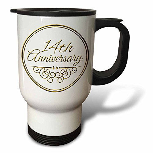 3dRose tm_154456_1 14Th Anniversary Gift Gold Text for Celebrating Wedding Anniversaries 14 Years Married Together Travel Mug, 14 oz, White