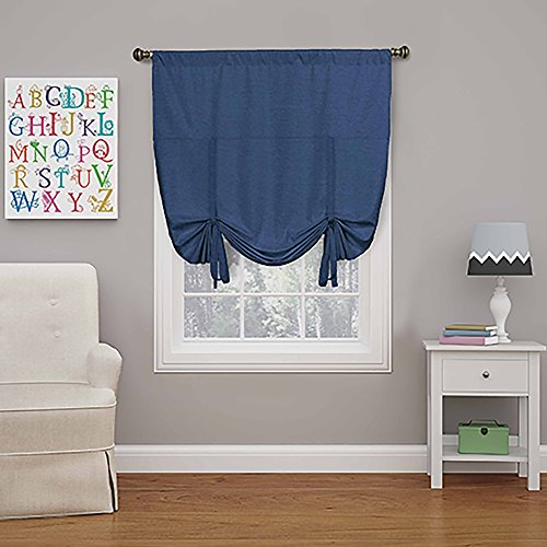 Eclipse 16170042X063DEN Kendall 42-Inch by 63-Inch Blackout Window Single Tie-up Shade, Denim