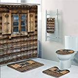 Bathroom 5 Piece Set shower curtain 3d print Multi Style,Shutters,Windows with Shutters Patterned on the Wall of the Old Wooden House Cottage Print,Brown Beige,Bath Mat,Bathroom Carpet Rug,Non-Slip,Ba