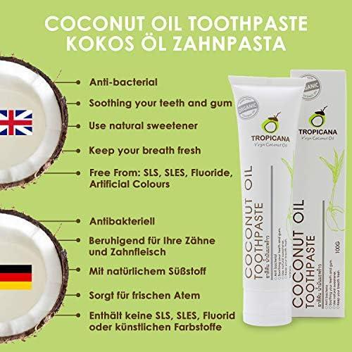 Tropicana Oil Bio Zahncreme Naturkosmetik mit Kokosöl 100g Zahnaufhellung Zahnpasta Ohne Fluorid&Aluminium Für Empfindliches Zahnfleisch Vegan Antibakteriell Fuoridfrei Kinder&Erwachsene